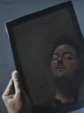 Self portrait in device by Matthew Hickey, Painting, Oil on canvas