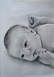 Tessa at 2 weeks old. by Matthew Hickey, Drawing, Charcoal on Paper