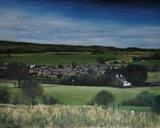 Village in the valley by Matthew Hickey, Painting, Oil on canvas