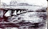 Wark Bridge by Matthew Hickey, Drawing, Pen on Paper