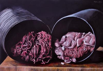 Convenient cavities by Matthew Hickey, Painting, Oil on canvas