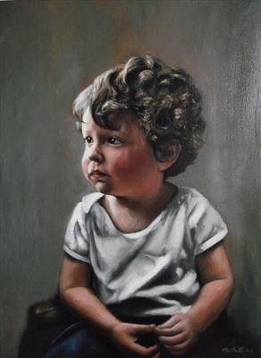 Miles at three by Matthew Hickey, Painting, Oil on canvas