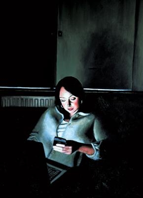 Screen time: Sarah 2 by Matthew Hickey, Painting, Oil on canvas